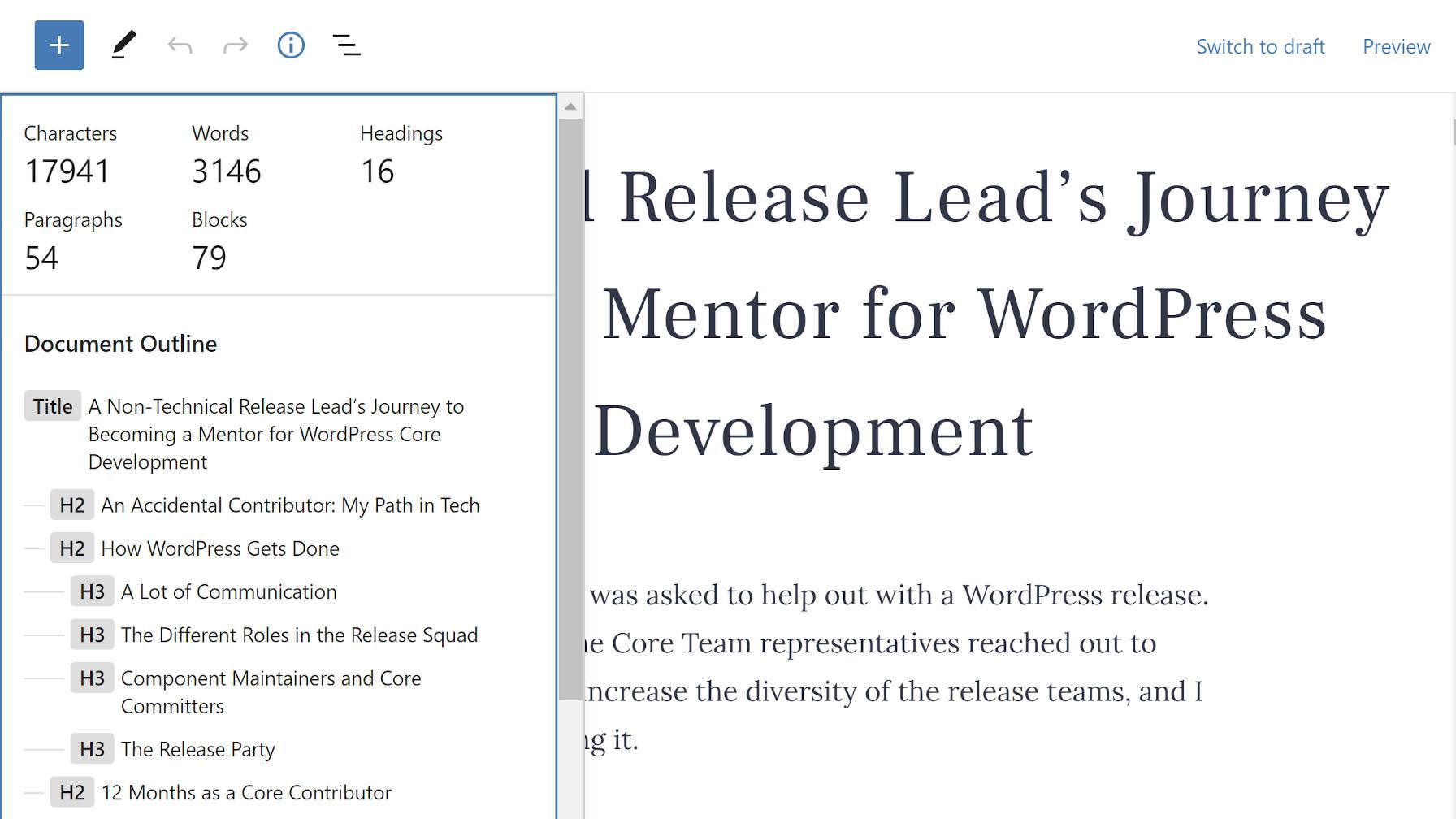 Details dropdown in the WordPress block editor.