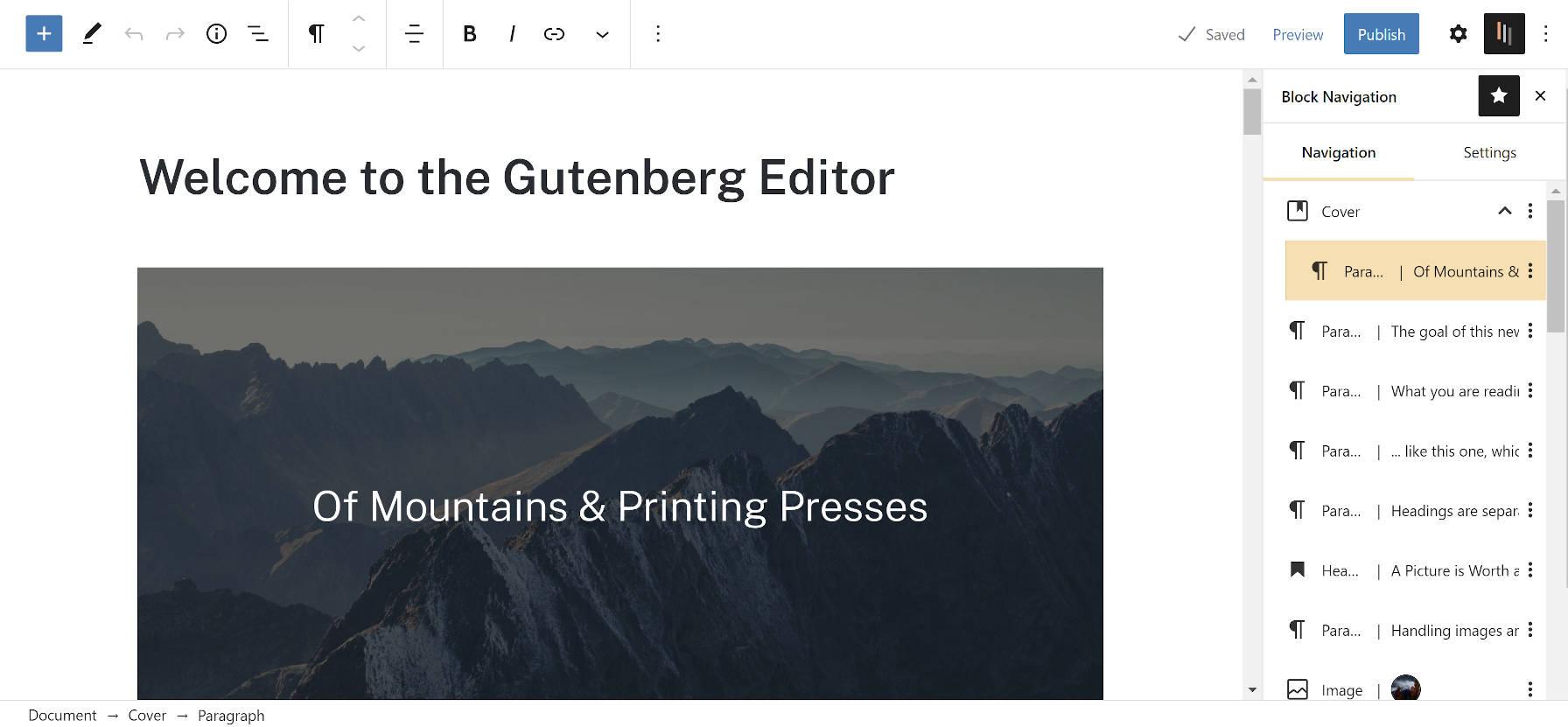 Block Navigation sidebar in the WordPress editor.