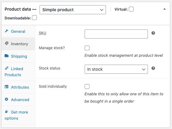 WooCommerce product page inventory settings