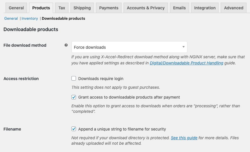 WooCommerce products downloadable settings