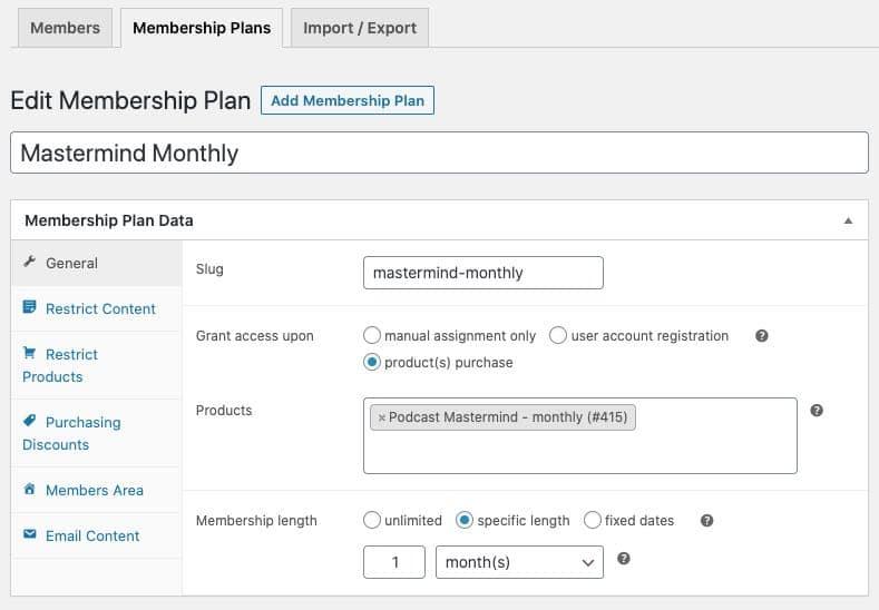 add new membership general settings