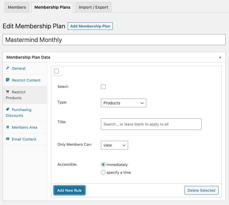 add new membership restrict products