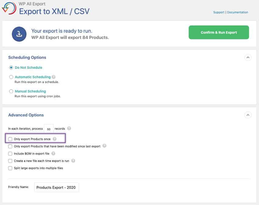 confirm and run product export