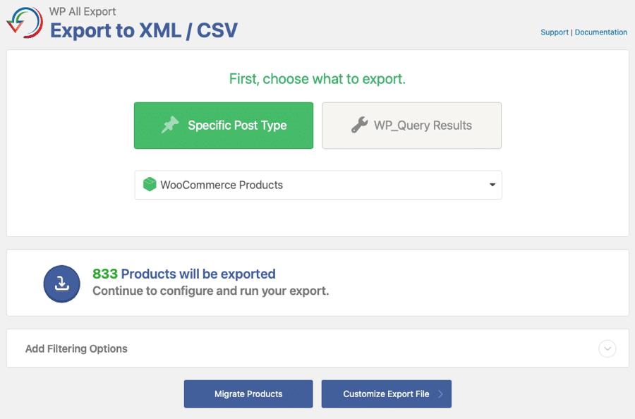create woo export