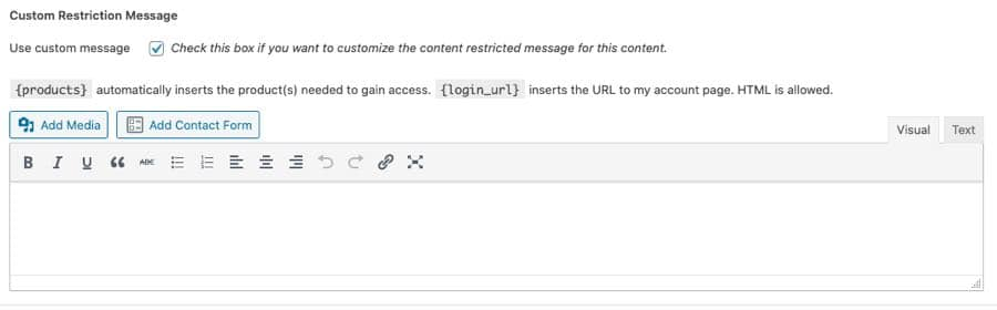 customize message for restriction