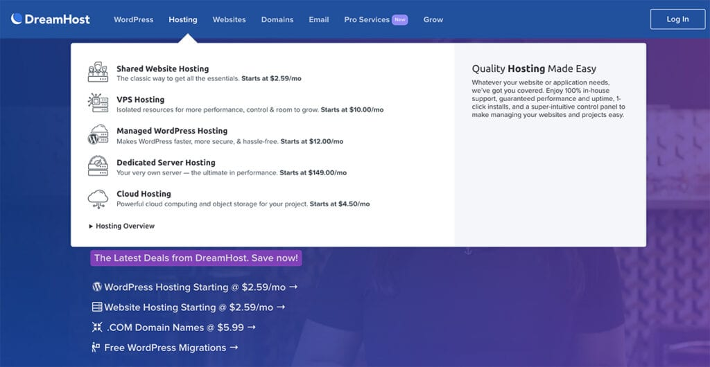 dreamHost product overview