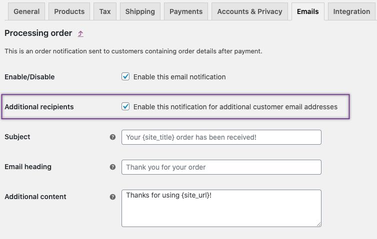 enable emails for multiple recipients
