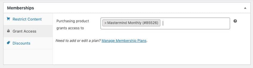 grant access of product and member plan