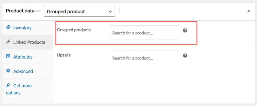 grouped product fields