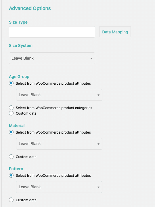 grouping items advanced options