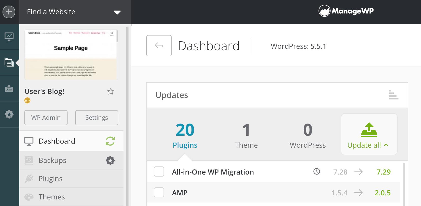The ManageWP dashboard.