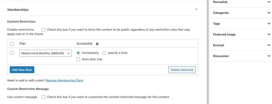 membership content restrictions on posts and pages