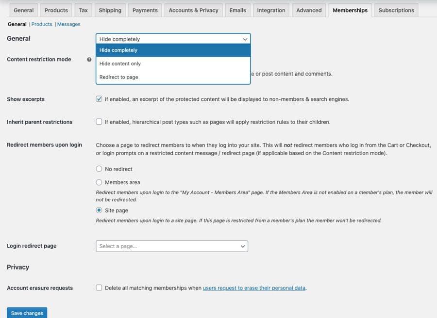 membership general and restriction settings