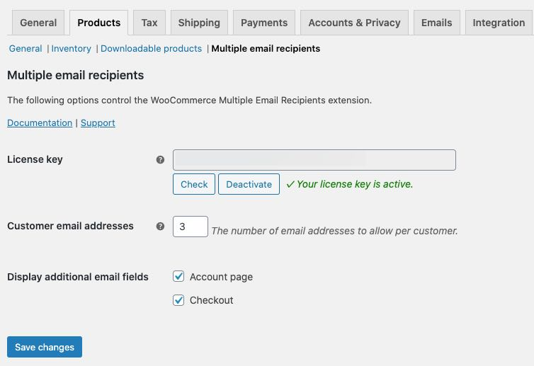 multiple email recipients general settings