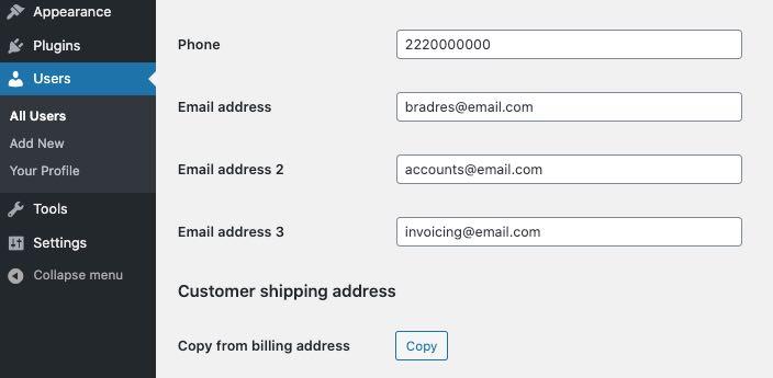 option in user profile in dashboard