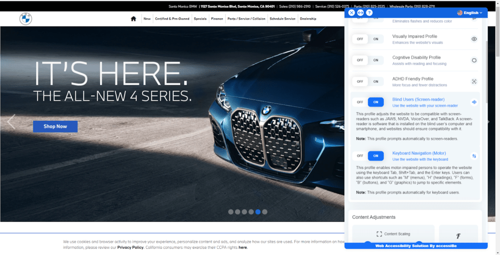 accessiBe's accessibility interface on a BMW website