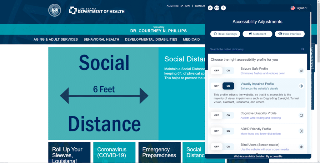 The Louisiana Department of Health Website with accessiBe's visually-impaired profile activated