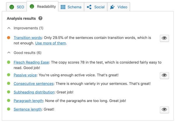 readability analysis in the yoast meta box