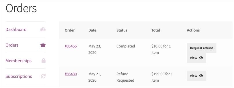 refund request notes on orders in account page