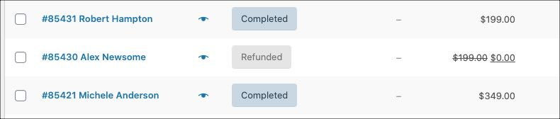 refunded on order page