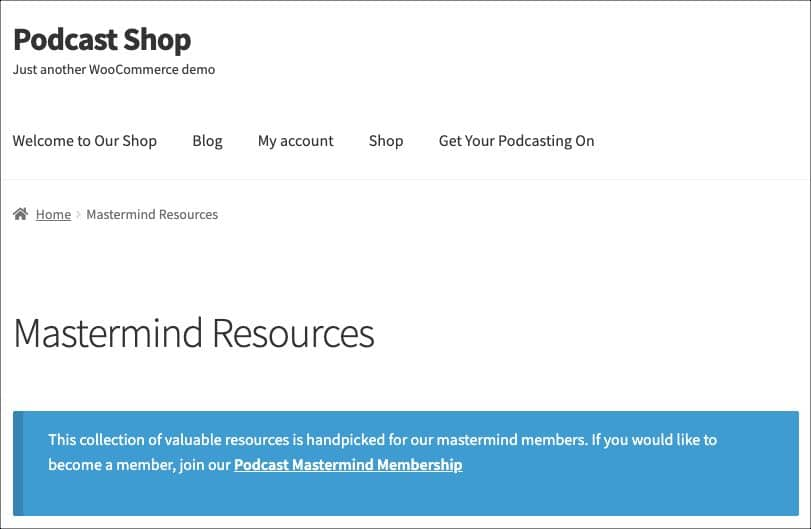 restricted page seen by non-member