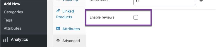 reviews toggle on product settings
