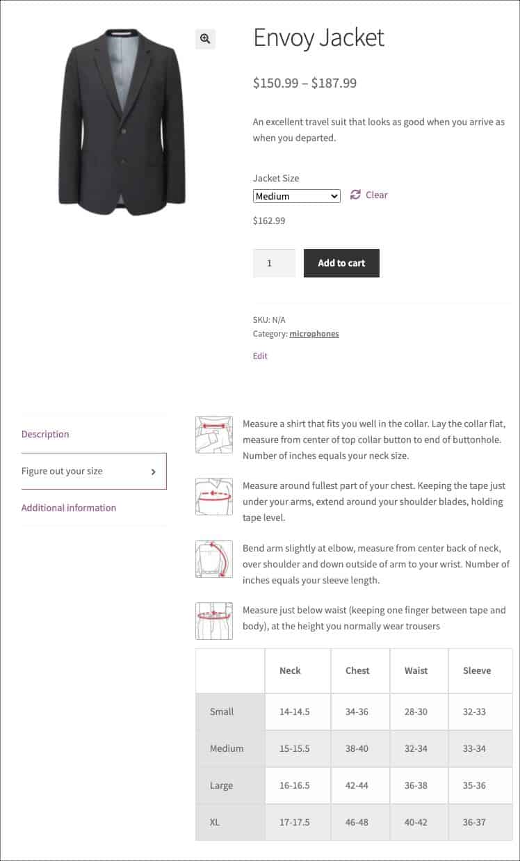 size chart on product page as a tab