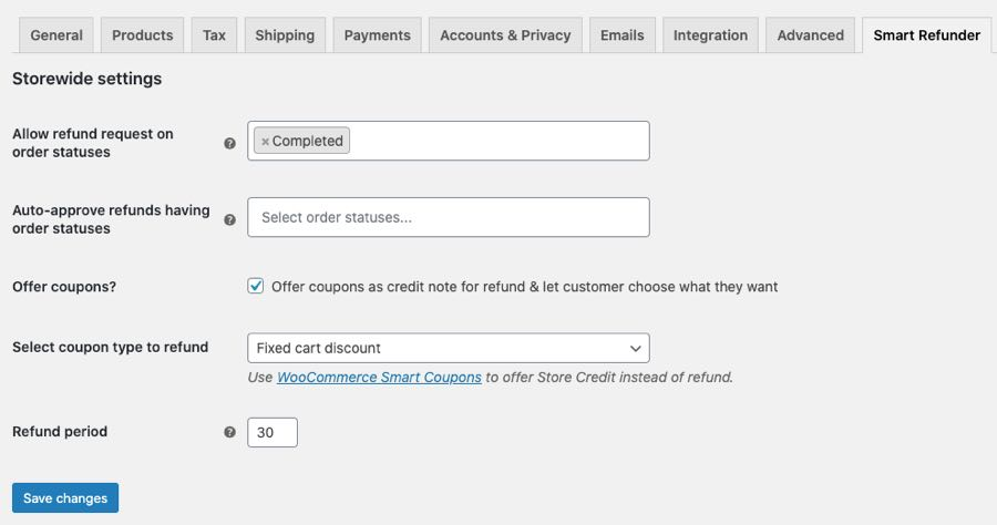 smart refunder storewide settings