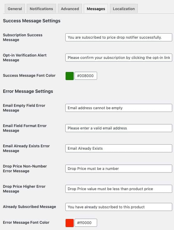success and error messages for price drop submission
