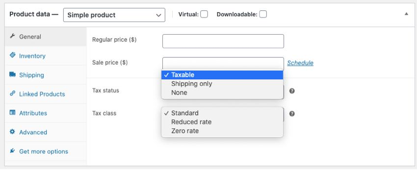 tax settings in product data