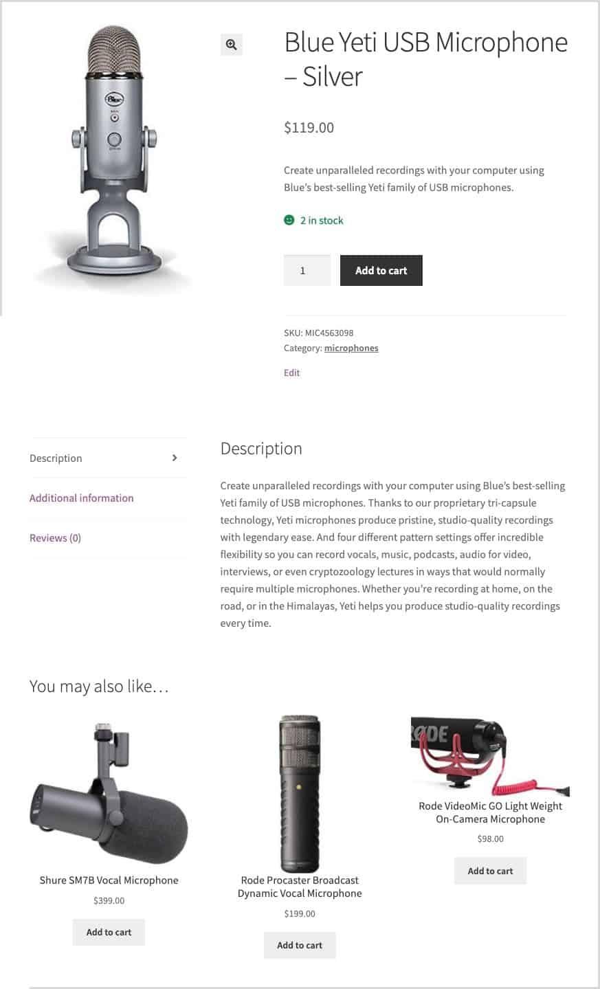 upsells on product page
