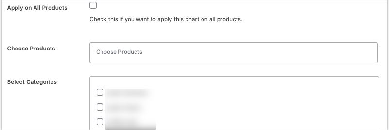 what products to show the size chart on