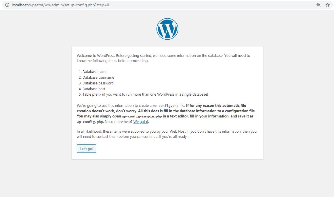 Configure WordPress database setting on WAMP
