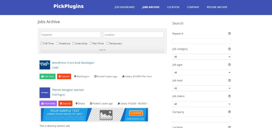 Job Board Manager demo site