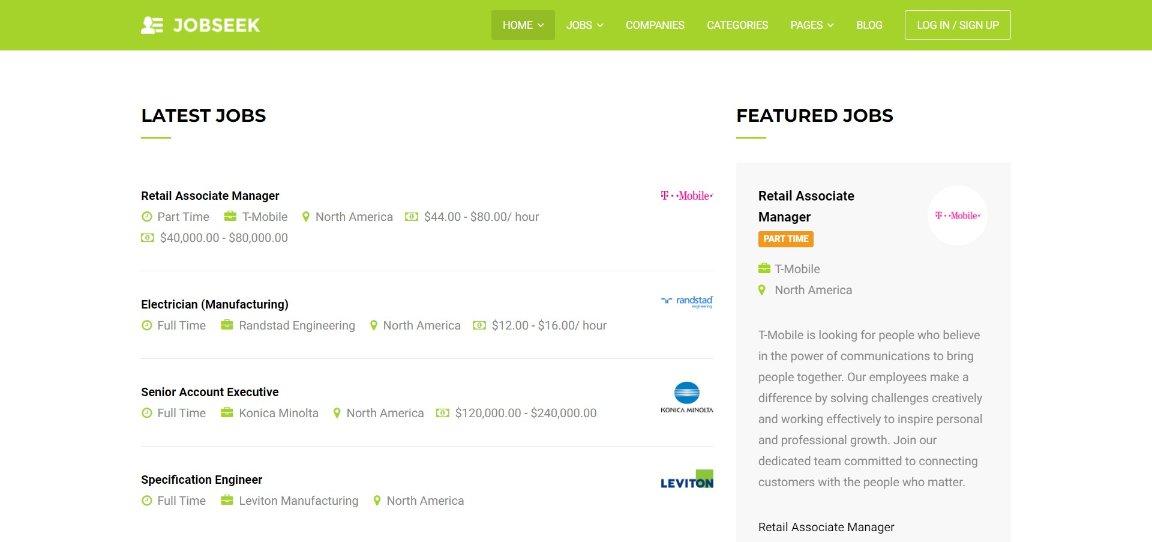 Jobseek Basic demo template site