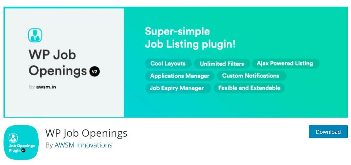 WP Job Openings wordpress free plugin