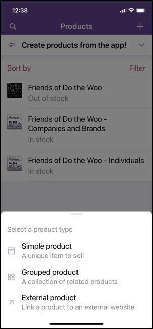Woo mobile app create product