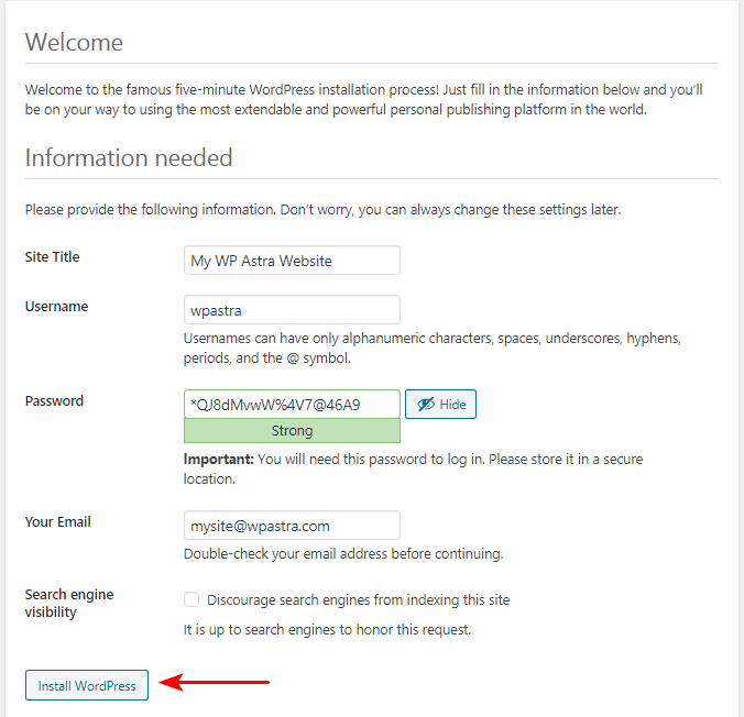 WordPress Installation settings