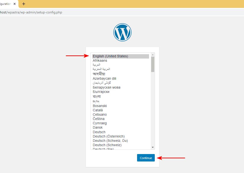 WordPress language setup