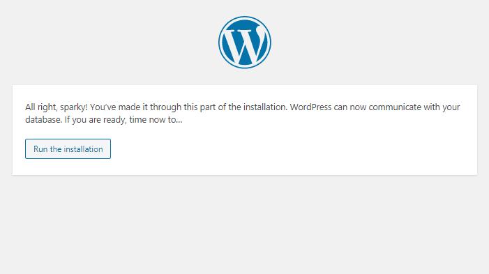 WordPress run installation