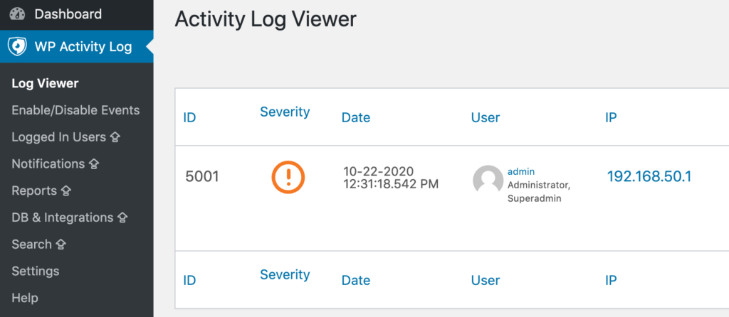 The Activity Log Viewer within the WP Activity Log plugin.
