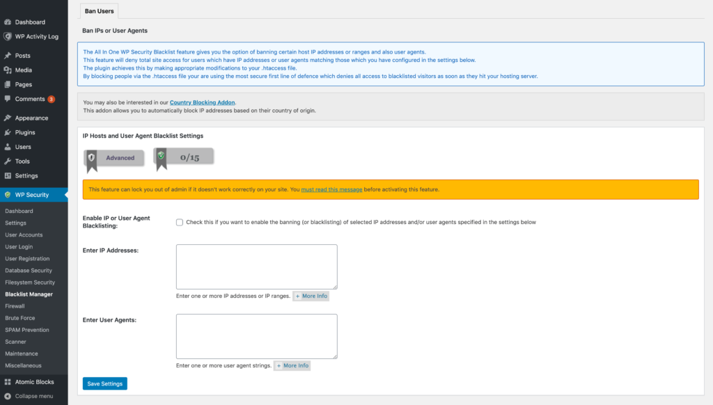 The Ban Users screen in the All in One WP Security and Firewall plugin.