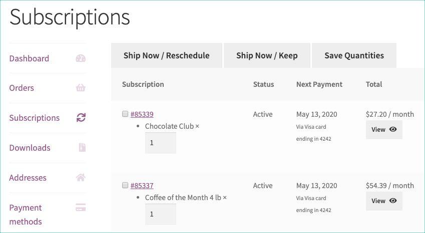 bulk options for multiple subscriptions