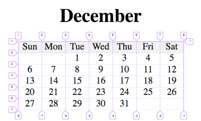 Calendar with CSS Grid