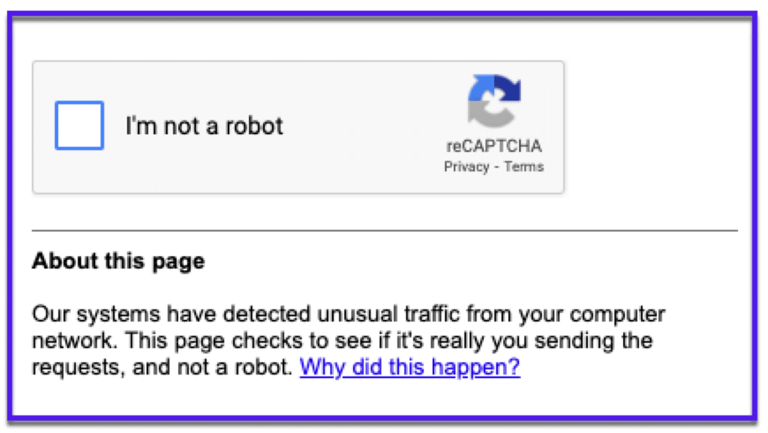 You'll probably see this Google reCAPTCHA if you use too many operators