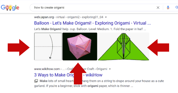 Screenshot showing images in Google search results