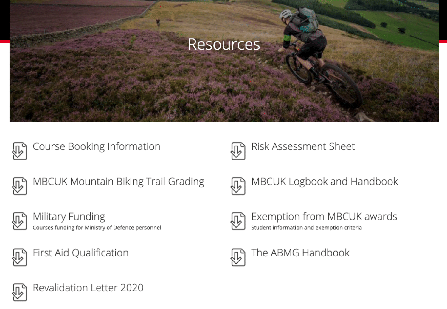 An example of a resource page (related to mountain biking) found using this search operator