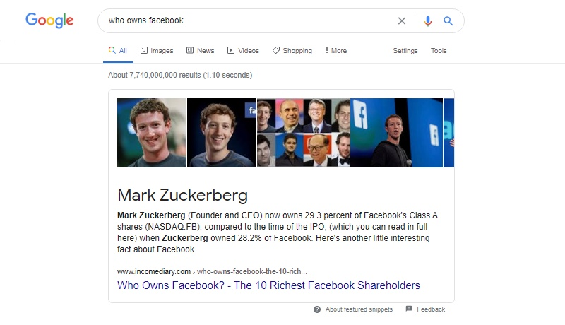 Google Voice Search for Who owns Facebook