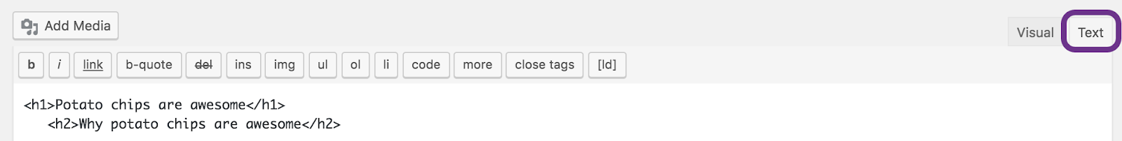 Header tags in an HTML editor