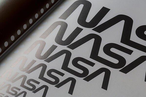 Black NASA logo variations from large to small